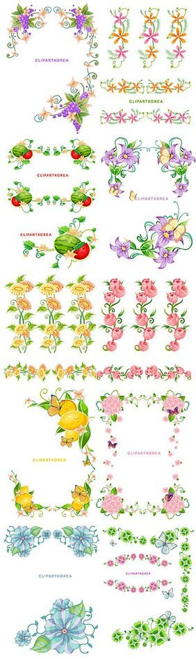 South Korea flowers, fruit and butterfly lace Vector materia