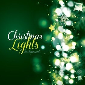 Green Christmas Card with Lights Background