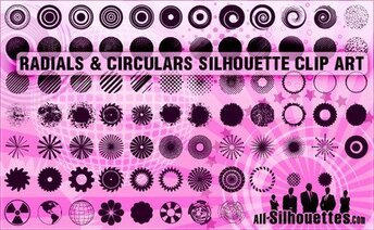 90 radiaal & circulaires silhouetten Clipart
