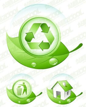 Environmental protection the theme of green leaf icon