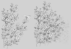 Japanese line drawing of plant material -7 Flower Vector (dr