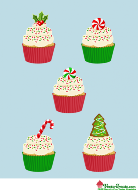 Free Royalty-Free Christmas Vector Cupcakes For the Taking