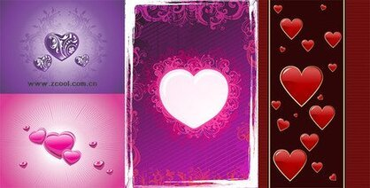 4 Heart-shaped vector material thematic elements