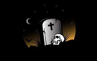Grave on Halloween Theme with Skull