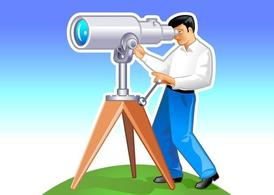 Man With Telescope Graphics