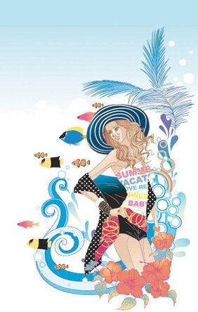 Exquisite Cartoon Fashion Crush 05- Vector Material Cartoons Leisure Beach