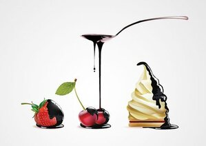 Pouring Melted Chocolate Over Cherry, Strawberry & Cream