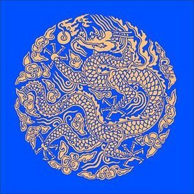 Golden Dragon Chinese classical circular pattern vector mate