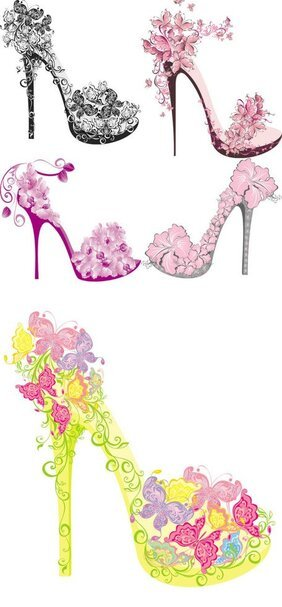 Shoes on a high heel decorated with flowers