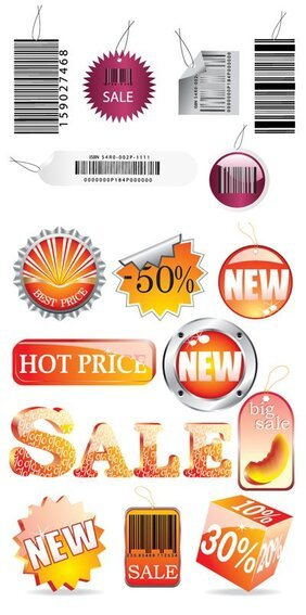 Vector icons related to the sale material