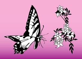 Butterfly en Flower Graphics