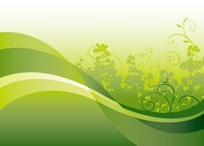 Green Floral with Wave