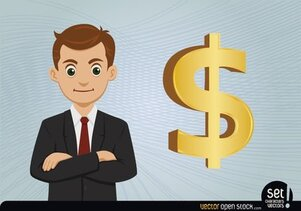 Young Businessman with Dollar Sign