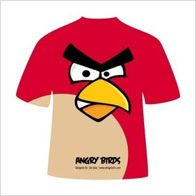 Red Angry Bird Avian Missile T-Shirt Design