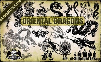 16 Vector Oriental Dragons