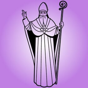 Line Art Black or White Saint Nicholas