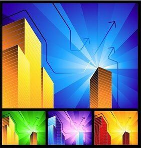 Vector background of high-rise buildings with radioactive ma