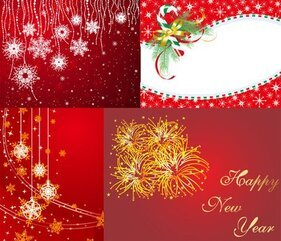 4 red Christmas and New Year