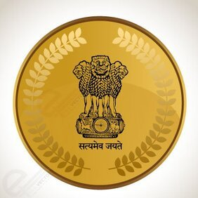 Vector Emblem of india on Gold Coin