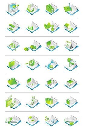 Office Supplies Theme Vector Icons