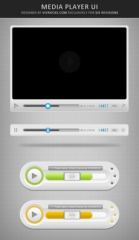 Media Player UI: Template PSD gratis
