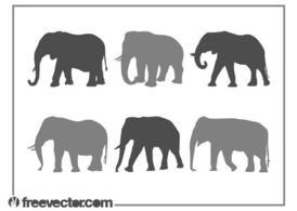 Elephants Silhouette Set