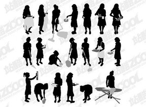 Housework People silhouette Vector material movement