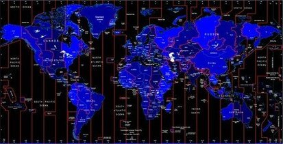 World Time Zone Map Identifies The