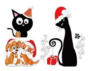 Cute cats and dogs Christmas