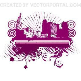 FLORAL AND HALFTONE CITY VECTOR.eps