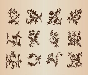 Vintage Floral Patterns Set for design