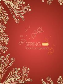 Golden Floral Ornament on Paprika Background