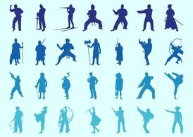 Fighting People Silhouettes Set