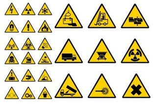 Builders vector material warning label