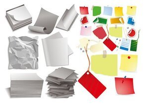 Material in various forms of paper