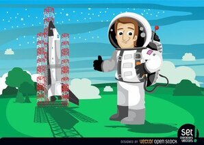 Astronaut neben Space Shuttle Start