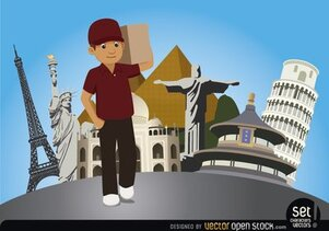 Delivery man with world monuments