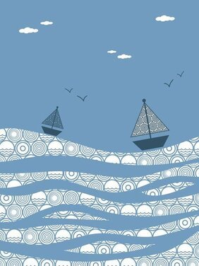 The Sea Boat Decorative Painting