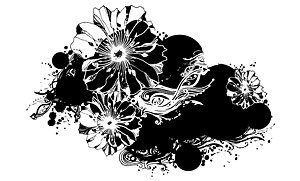 Black and white floral pattern elements of the trend