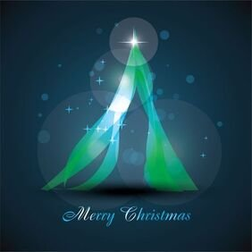 Abstract Glowing Christmas Tree Vector Art