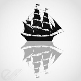 Pirates ship vector silhouettes