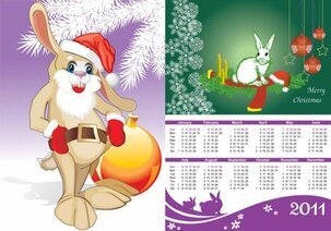 2011 Year Of The Rabbit Calendar Vector Cartoon Rabbits Pine Leaves