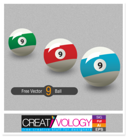 Three 9 Balls in Different Colors