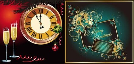 Champagne Clock butterflies, and other elements of vector ma