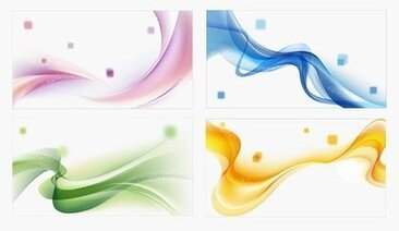 4 Colors Abstract Waves Background Vector Set