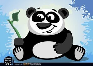 Panda bear animal with bamboo branch