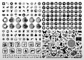 Zwart wit Vector Icons
