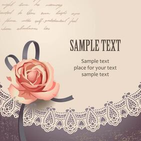 Template Vintage Card with Rose