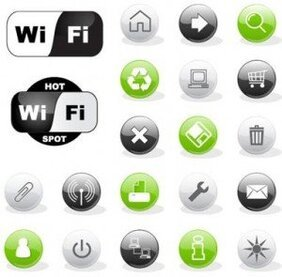 Stock Web Icons and wi fi symbols