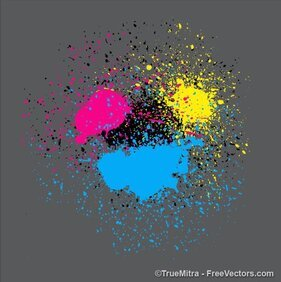 CMYK Spray Paint Splashes Vectors